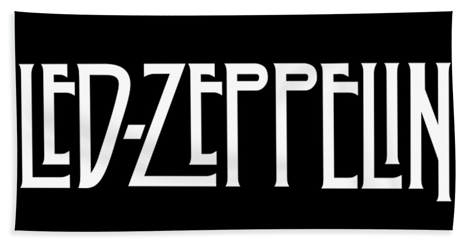 Logo Beach Towel featuring the digital art White Led - Logo - Zeppelin - Logotype Original Official Transparent PNG by Poster Frame