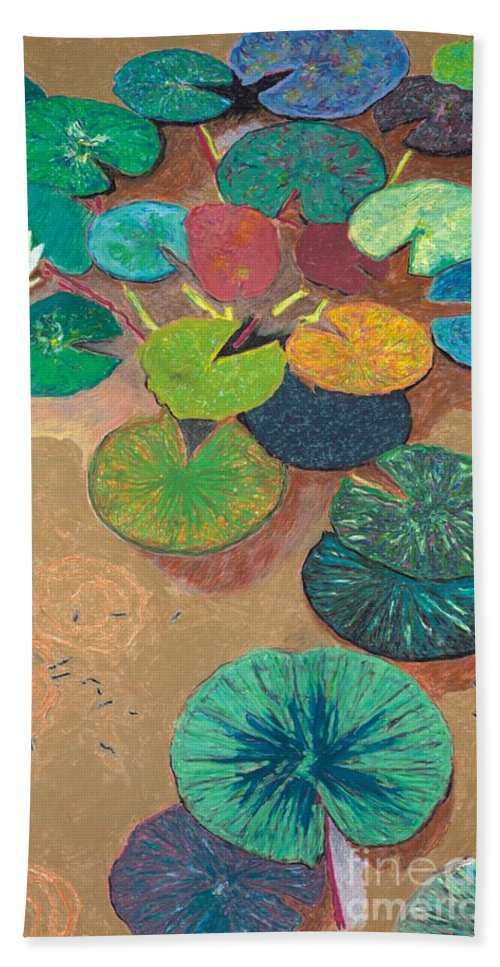 Landscape Beach Towel featuring the painting White Lily by Allan P Friedlander