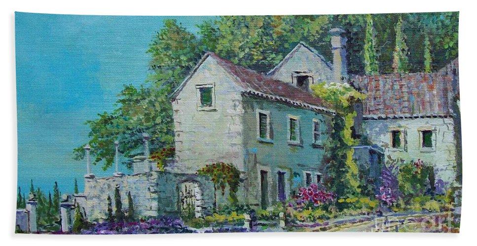 Original Painting Beach Towel featuring the painting Village Vista by Sinisa Saratlic