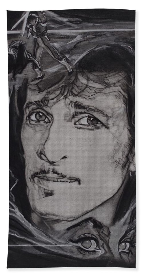 Charcoal On Paper Beach Towel featuring the drawing Willy DeVille - Coup de Grace by Sean Connolly