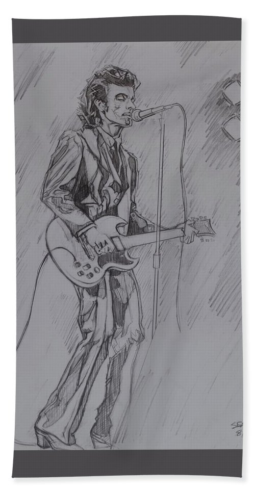 Pencil Beach Towel featuring the drawing Willy DeVille - Steady Drivin' Man by Sean Connolly