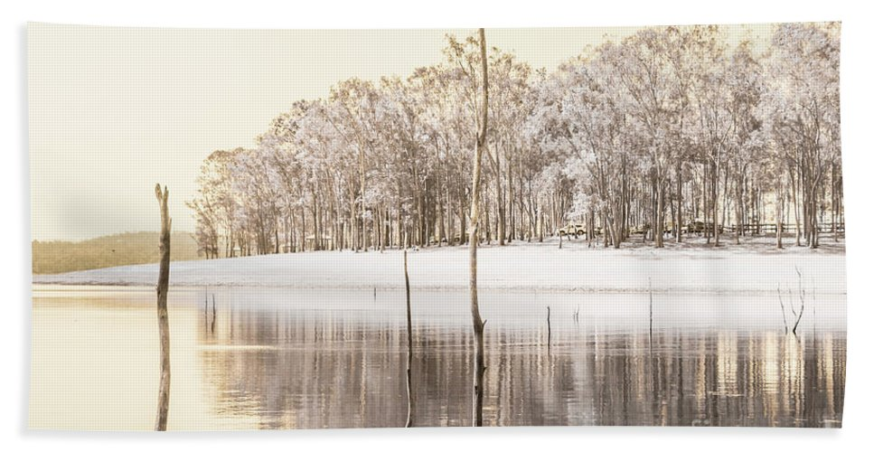 Landscape Beach Towel featuring the photograph Winters Edge by Jorgo Photography - Wall Art Gallery