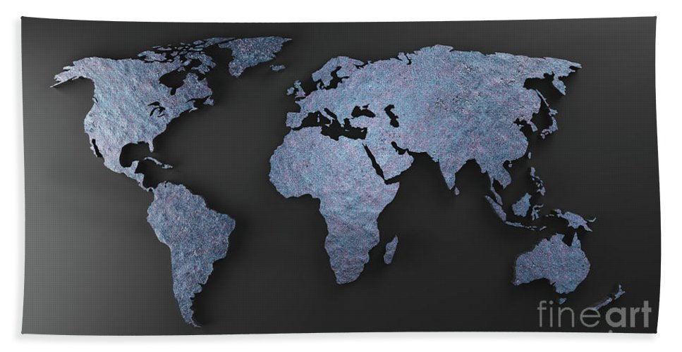 World map made of blue rock mineral. Modern wallpaper in ...