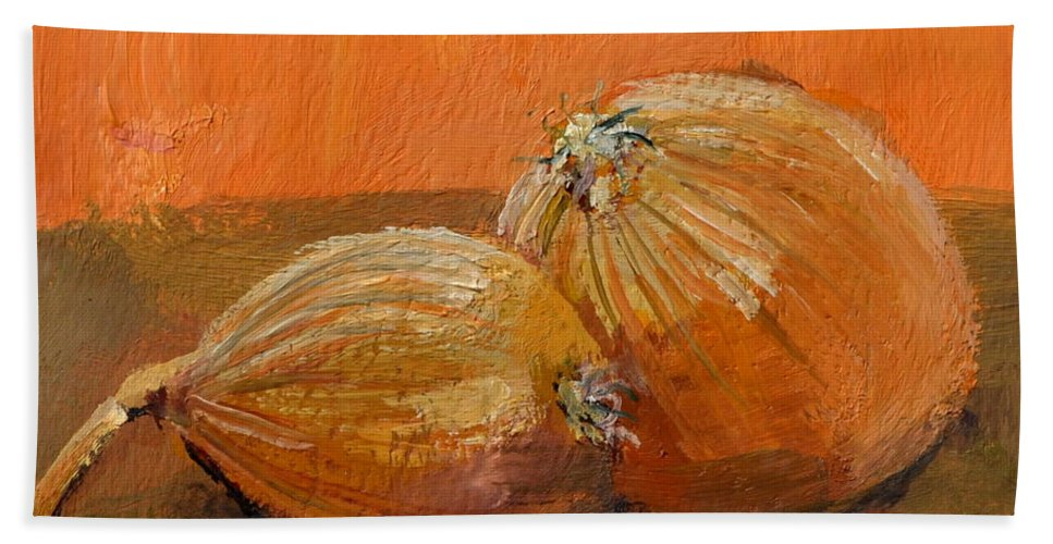 Agriculture Beach Towel featuring the painting Yellow Onions Still Life by Michelle Calkins