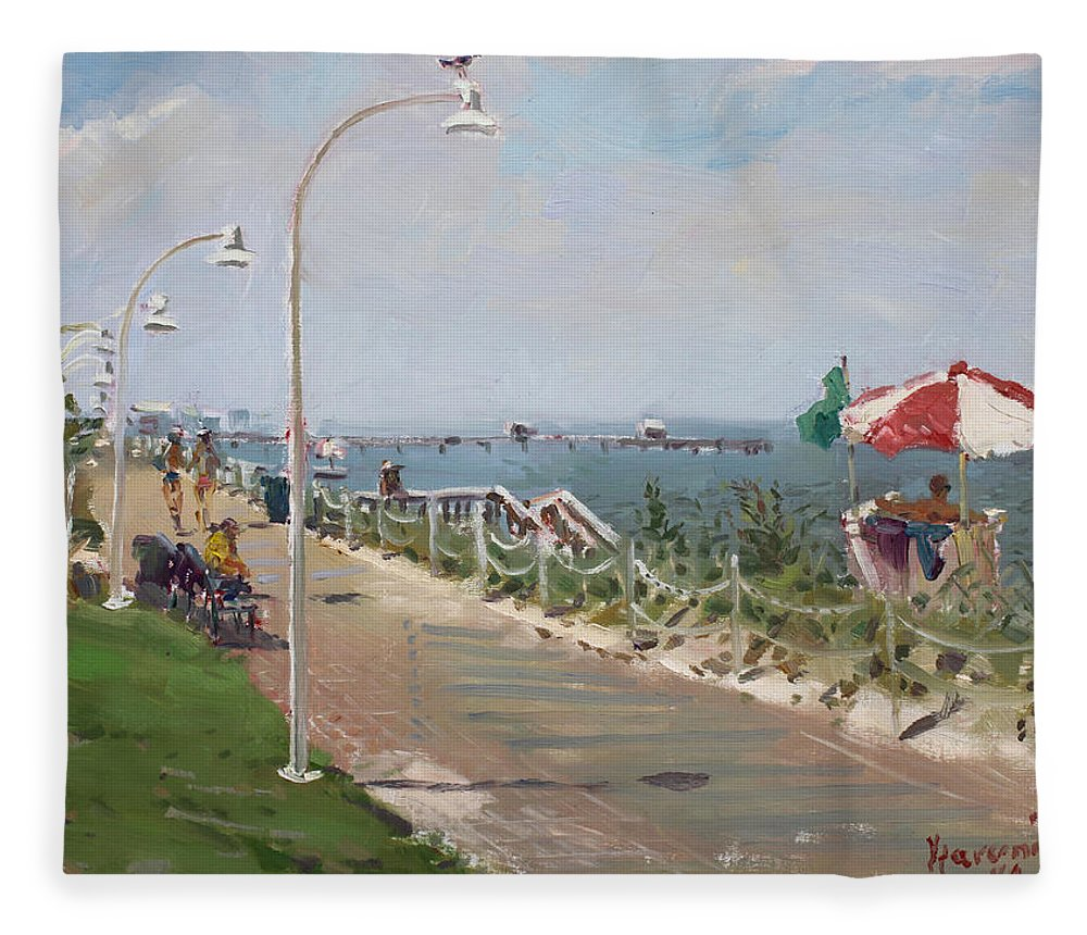 Norfolk Fleece Blanket featuring the painting Beach Border Walk In Norfolk Va by Ylli Haruni