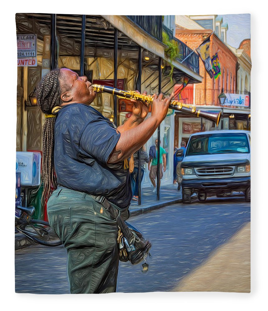 Nola Fleece Blanket featuring the photograph Feel It - Doreen's Jazz New Orleans 2 by Steve Harrington