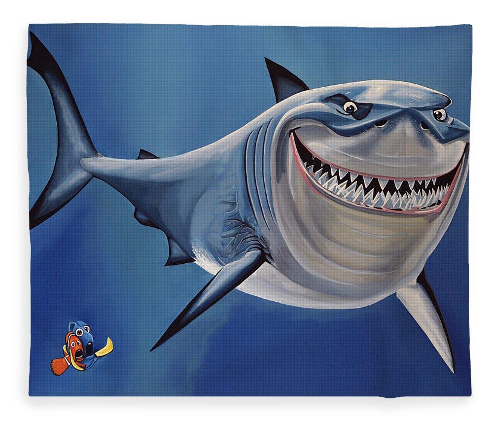 Finding Nemo Fleece Blanket featuring the painting Finding Nemo Painting by Paul Meijering