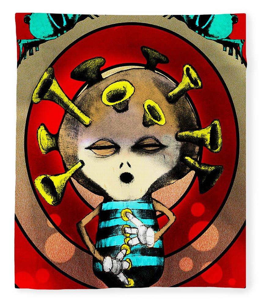 Cartoon Fleece Blanket featuring the painting Jazzplayer by Johan Lilja