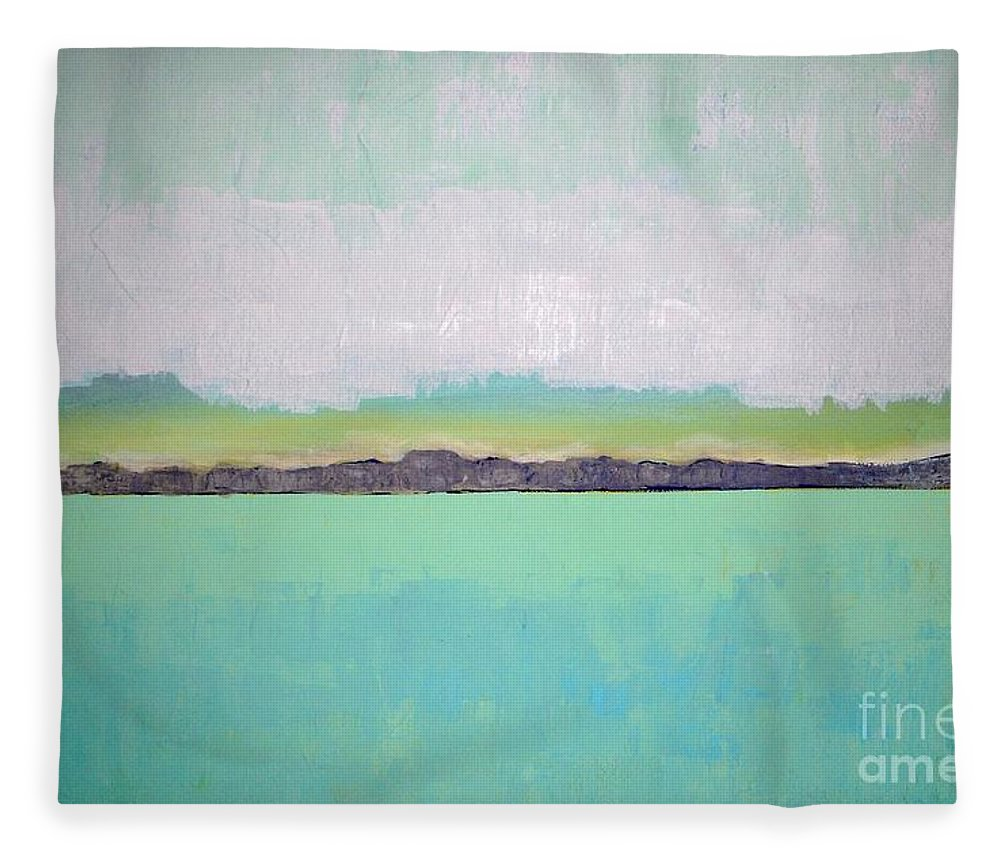 Landscape Fleece Blanket featuring the painting Peace Of The Lake by Vesna Antic