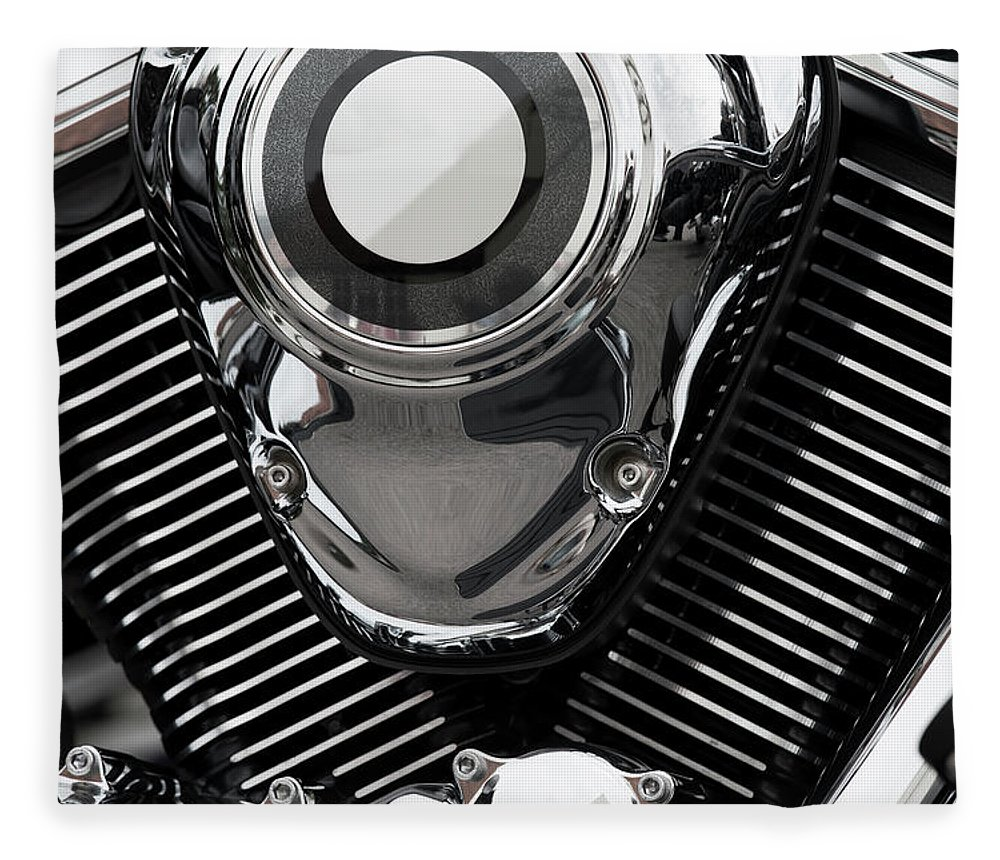 Vehicle Part Fleece Blanket featuring the photograph Abstract Motorcycle Engine by Andrew Dernie