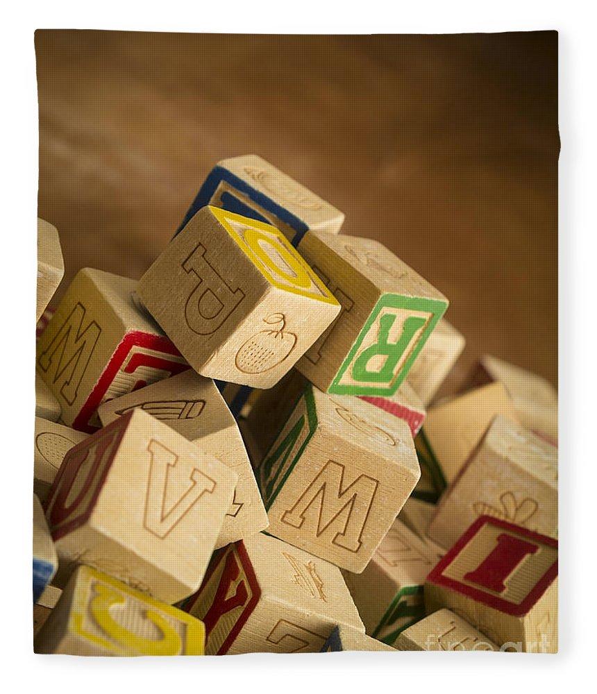 Toy Fleece Blanket featuring the photograph Alphabet Blocks by Edward Fielding