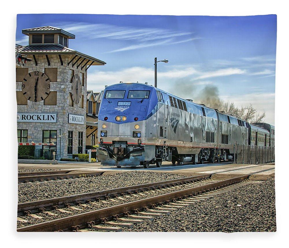 Amtrak Fleece Blanket featuring the photograph Amtrak 112 by Jim Thompson