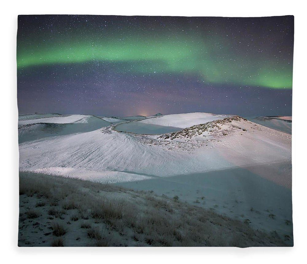 Scenics Fleece Blanket featuring the photograph Aurora, Myvatn, Iceland by David Clapp