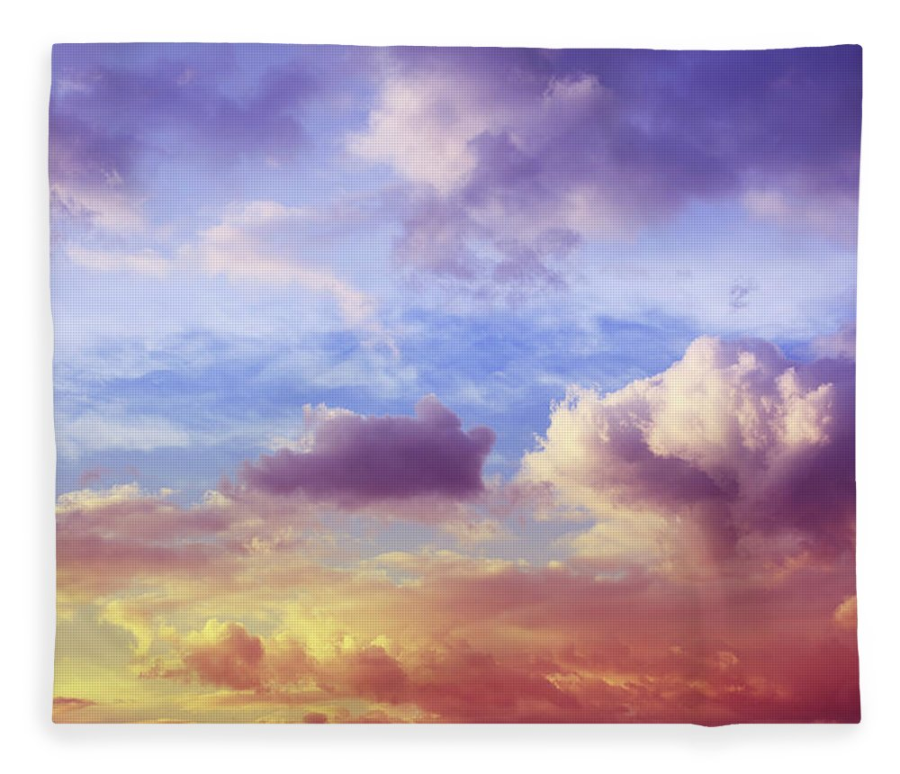 Scenics Fleece Blanket featuring the photograph Beautiful Sunset Cloudscape by Blackred