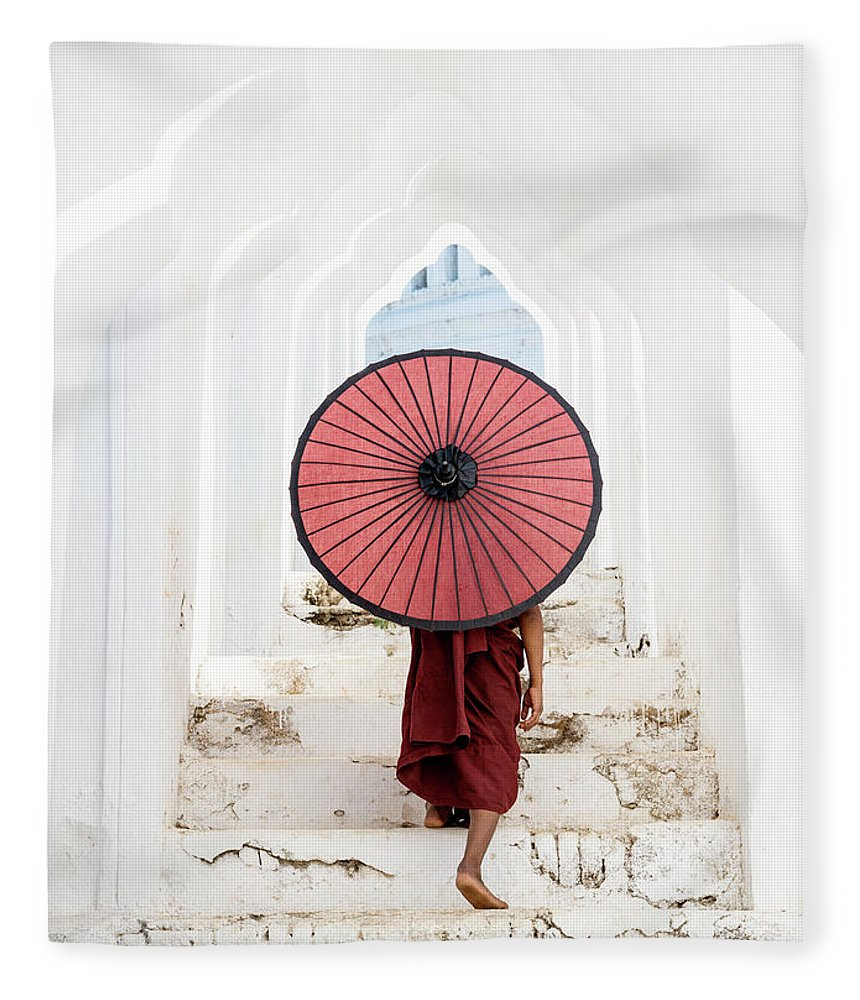 Steps Fleece Blanket featuring the photograph Buddhist Monk Walking Along Temple by Martin Puddy
