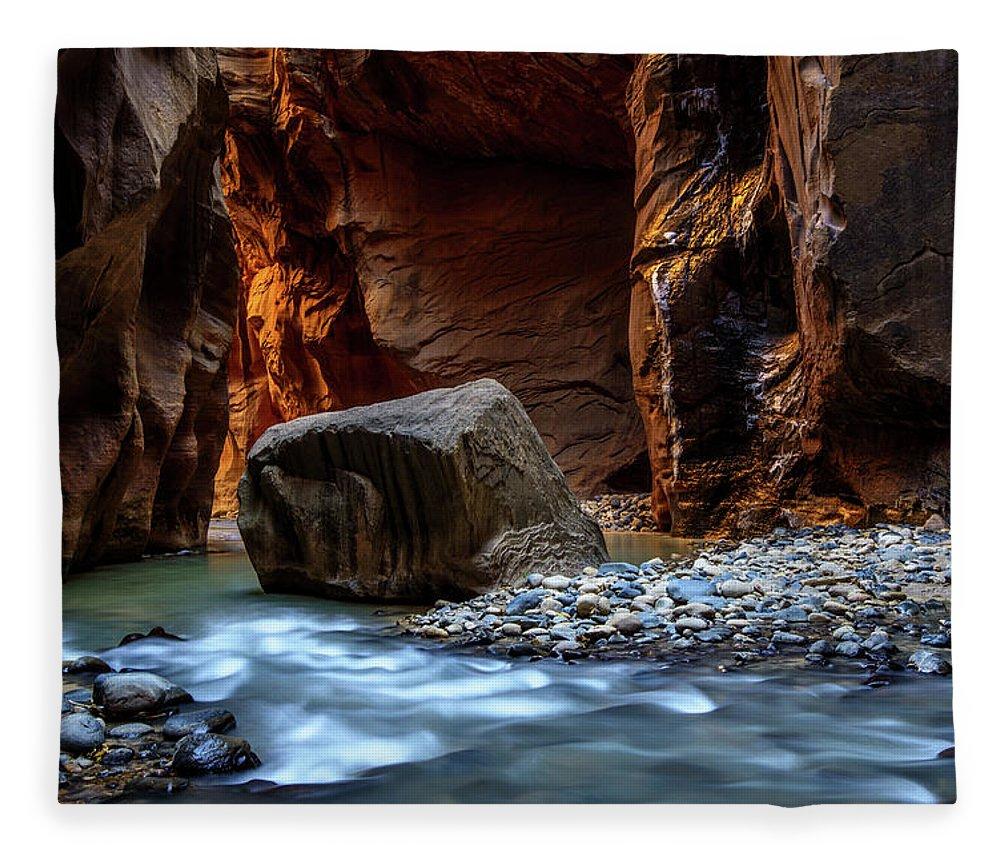 Scenics Fleece Blanket featuring the photograph Canyon by Piriya Photography
