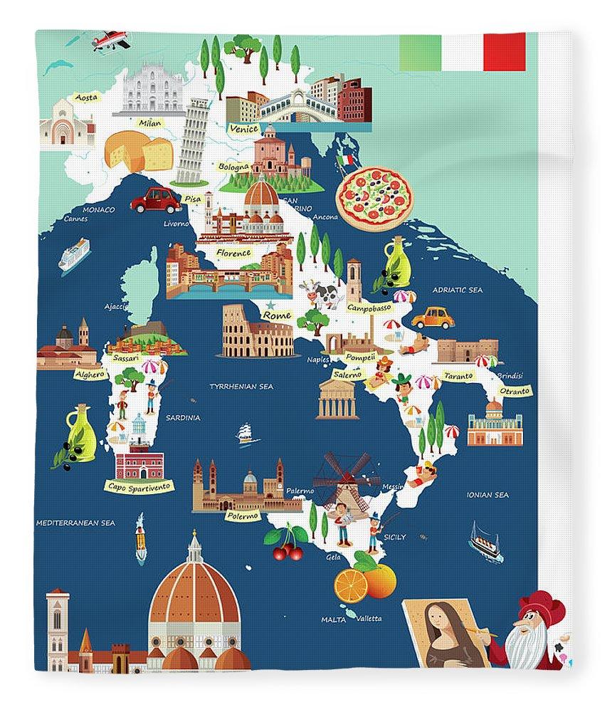 Adriatic Sea Fleece Blanket featuring the digital art Cartoon Map Of Italy by Drmakkoy