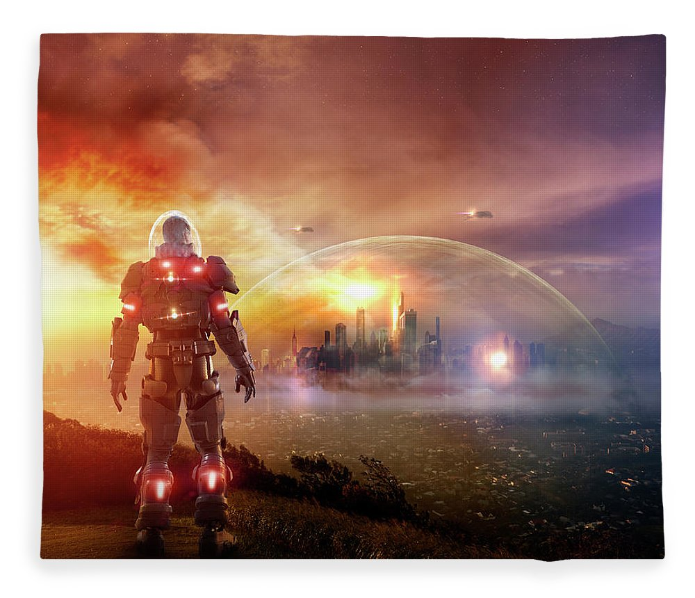 Headwear Fleece Blanket featuring the photograph Caucasian Soldier Wearing Glowing Armor by Colin Anderson Productions Pty Ltd