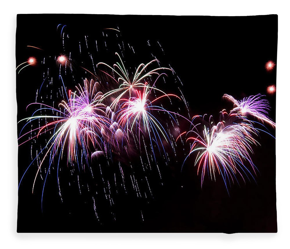 Firework Display Fleece Blanket featuring the photograph Chicago Fireworks by 400tmax