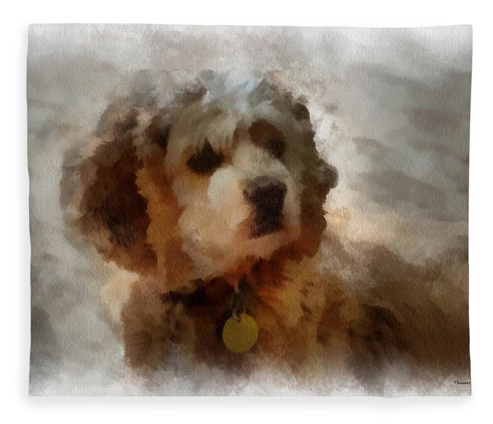 Spaniel Fleece Blanket featuring the photograph Cocker Spaniel Photo Art 01 by Thomas Woolworth