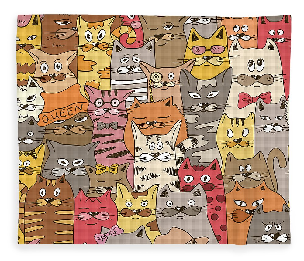Pets Fleece Blanket featuring the digital art Colorful Seamless Pattern With Funny by Annykos