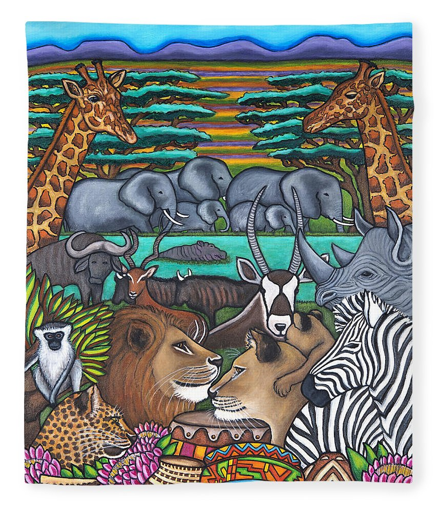 Africa Fleece Blanket featuring the painting Colours of Africa by Lisa Lorenz
