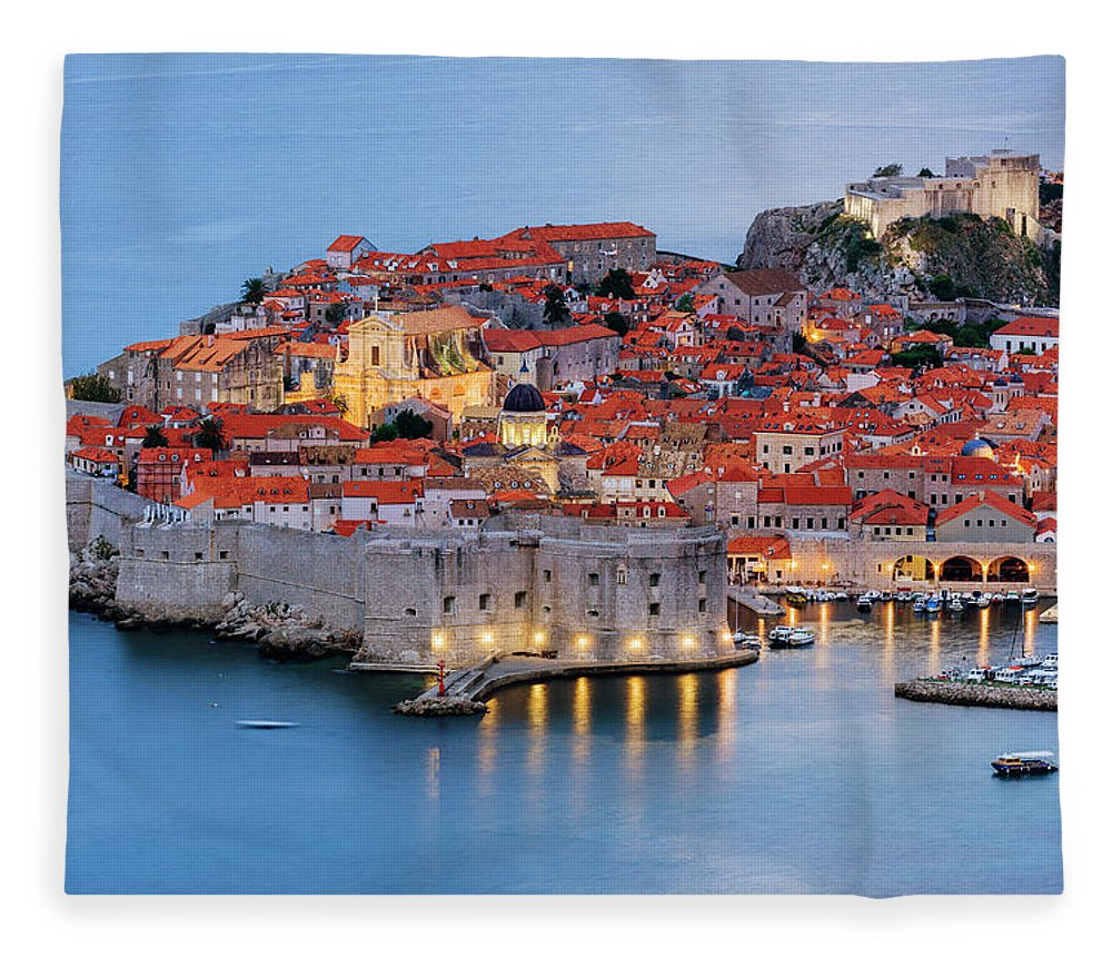Scenics Fleece Blanket featuring the photograph Dubrovnik City Skyline At Dawn by Pixelchrome Inc