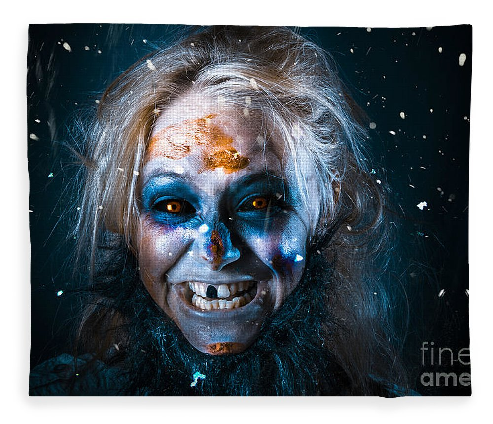 Monster Fleece Blanket featuring the photograph Evil Winter Monster Smiling Beneath Falling Snow by Jorgo Photography - Wall Art Gallery