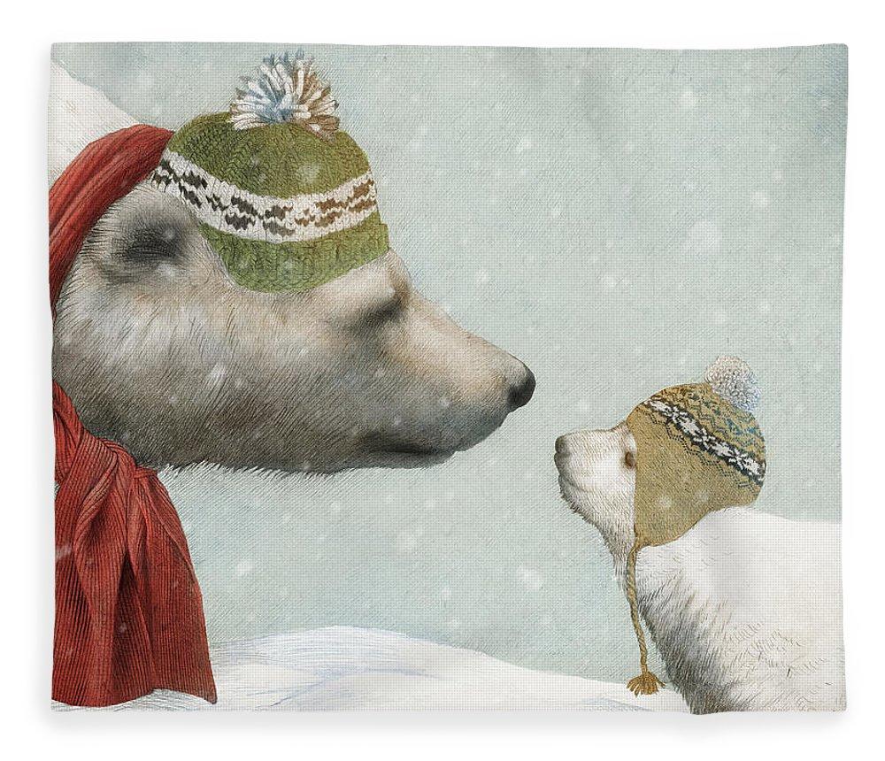 Polar Bear Fleece Blanket featuring the drawing First Winter by Eric Fan
