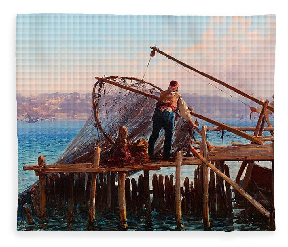 Painting Fleece Blanket featuring the painting Fishermen Bringing In The Catch by Mountain Dreams