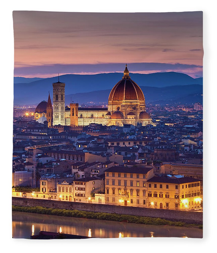 Built Structure Fleece Blanket featuring the photograph Florence Catherdral Duomo And City From by Richard I'anson