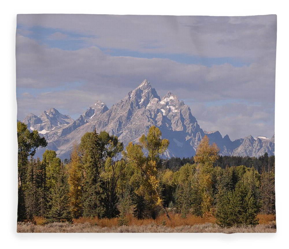 Mountain Fleece Blanket featuring the photograph Grand Teton by Frank Madia