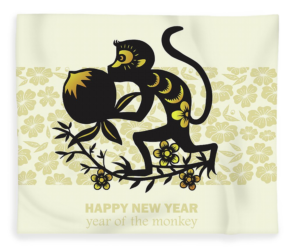 Chinese Culture Fleece Blanket featuring the digital art Happy New Year, Year Of The Monkey 2016 by Ly86