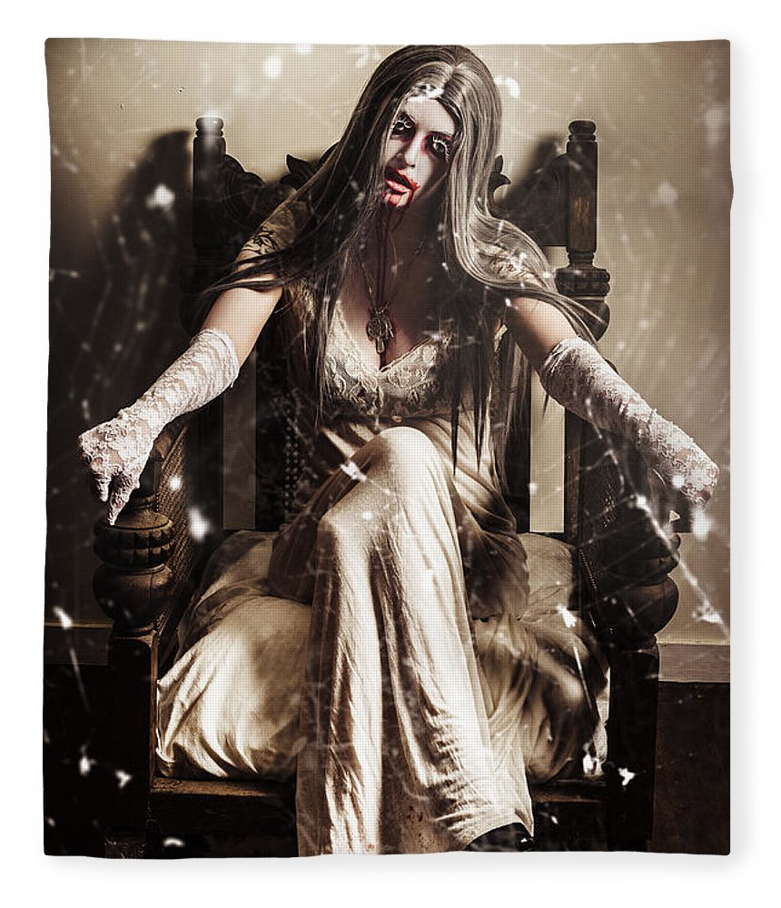 Evil Fleece Blanket featuring the photograph Haunting Horror Scene With A Strange Vampire Girl by Jorgo Photography - Wall Art Gallery