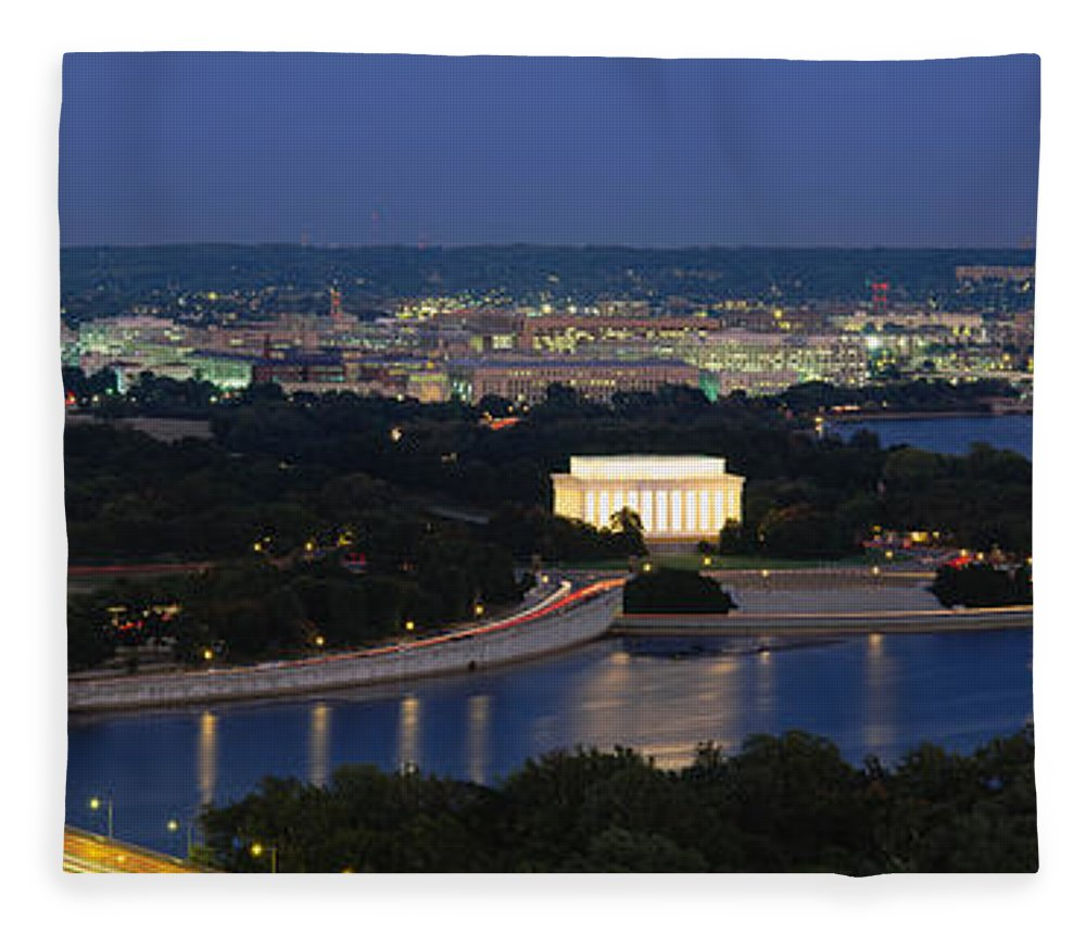 Photography Fleece Blanket featuring the photograph High Angle View Of A City, Washington by Panoramic Images