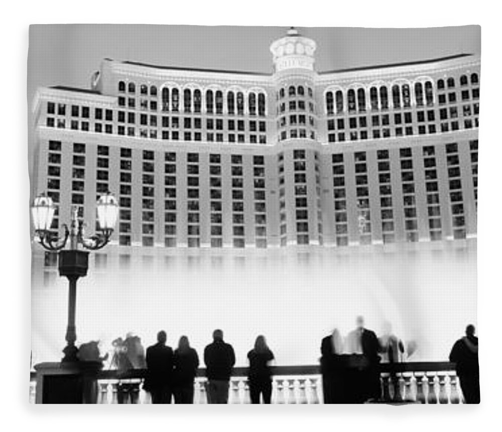 Photography Fleece Blanket featuring the photograph Hotel Lit Up At Night, Bellagio Resort by Panoramic Images