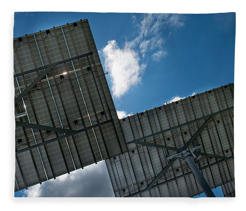 Photography Fleece Blanket featuring the photograph Low Angle View Of Solar Panels by Panoramic Images
