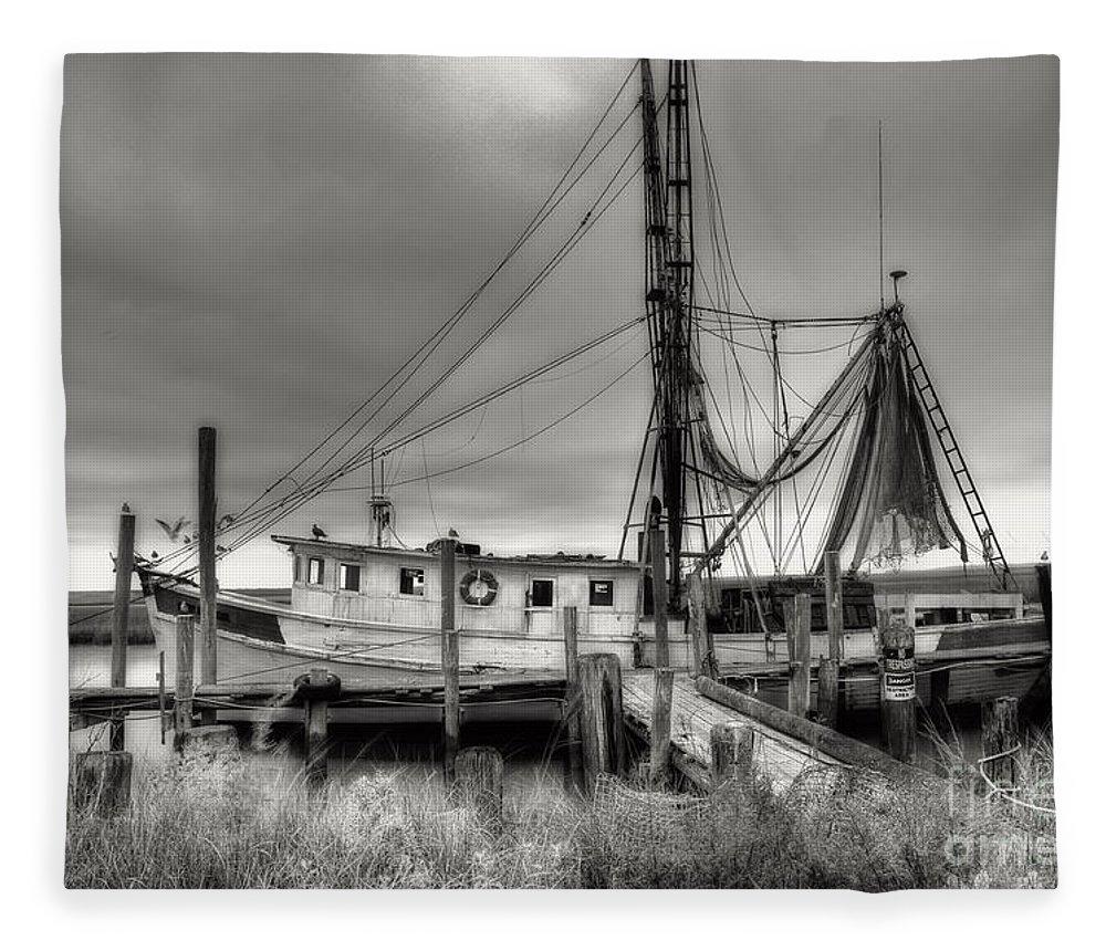 Shrimp Boat Fleece Blanket featuring the photograph Lowcountry Shrimp Boat by Scott Hansen
