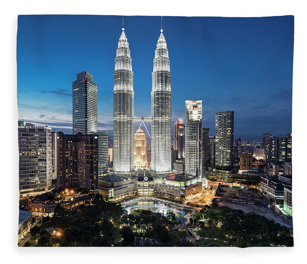 Downtown District Fleece Blanket featuring the photograph Malaysia, Kuala Lumpur, Petronas Towers by Martin Puddy