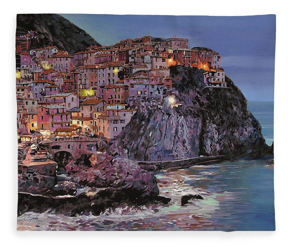 Manarola Fleece Blanket featuring the painting Manarola al crepuscolo by Guido Borelli