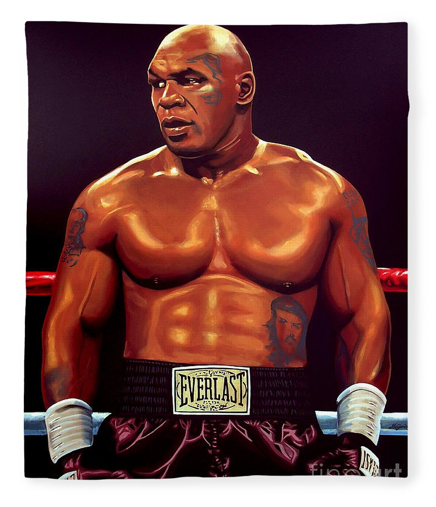 Mike Tyson Fleece Blanket featuring the painting Mike Tyson by Paul Meijering