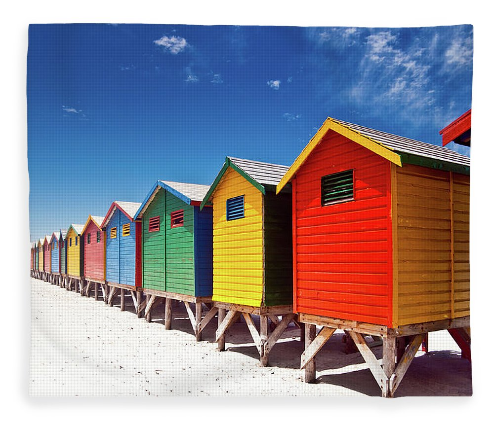 Beach Hut Fleece Blanket featuring the photograph Muizenberg Beach Cape Town by Ferrantraite
