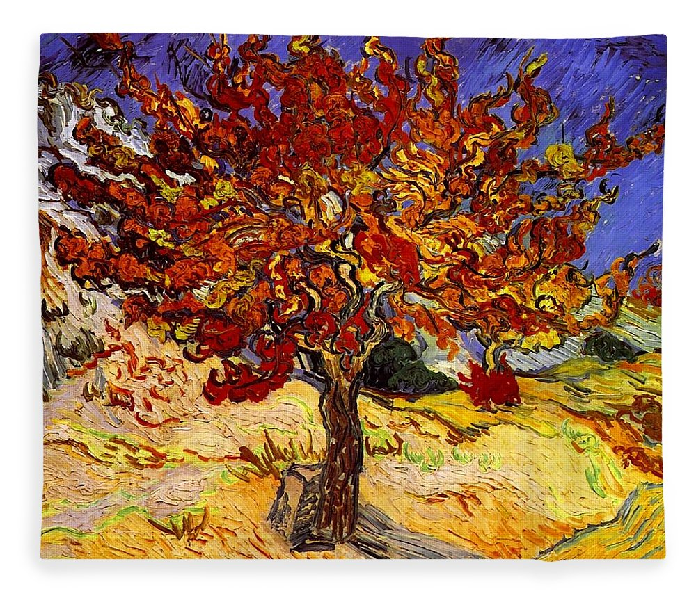 Vincent Van Gogh Fleece Blanket featuring the painting Mulberry Tree by Vincent Van Gogh