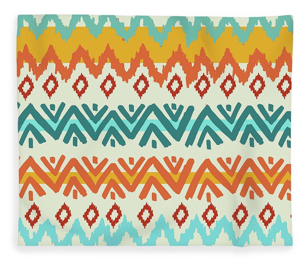Navajo Fleece Blanket featuring the digital art Navajo Mission Round by Nicholas Biscardi