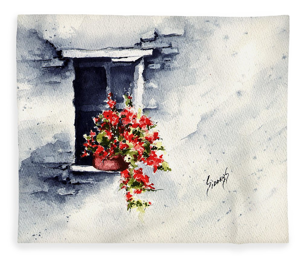 Wall Fleece Blanket featuring the painting Niche With Flowers by Sam Sidders