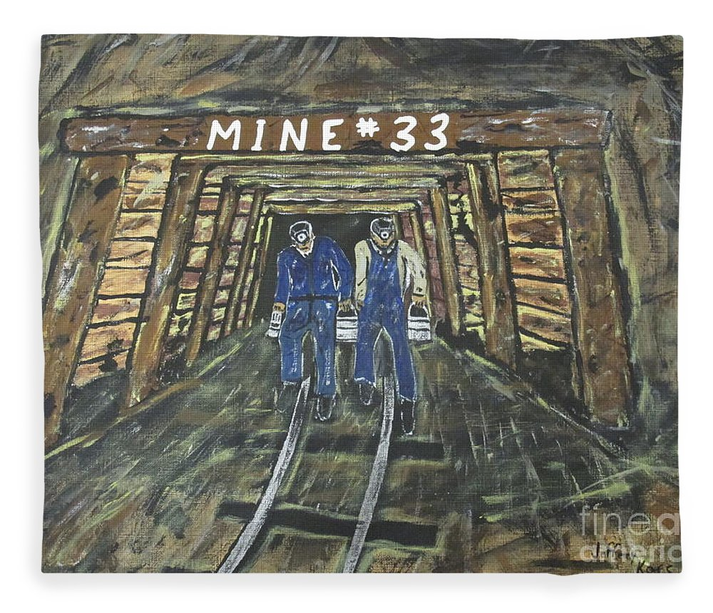 Mine Fleece Blanket featuring the painting No Windows Down There In The Coal Mine . Painting By Jeffrey Koss by Jeffrey Koss