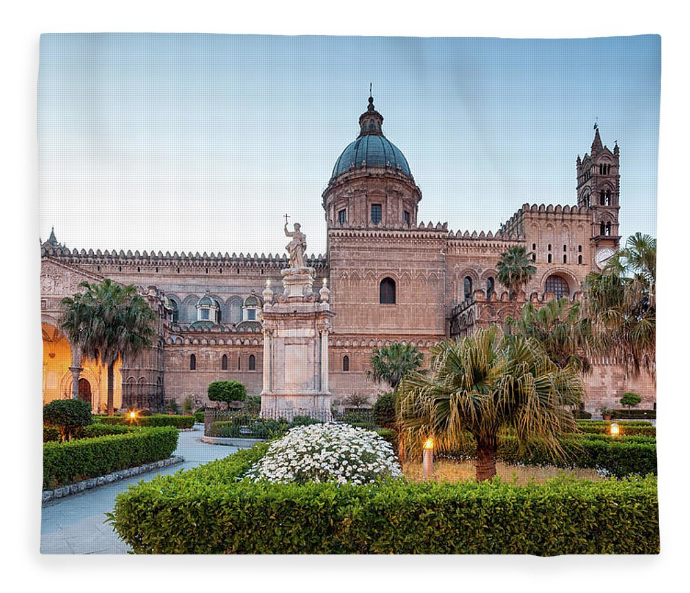Saturated Color Fleece Blanket featuring the photograph Palermo Cathedral At Dusk, Sicily Italy by Romaoslo