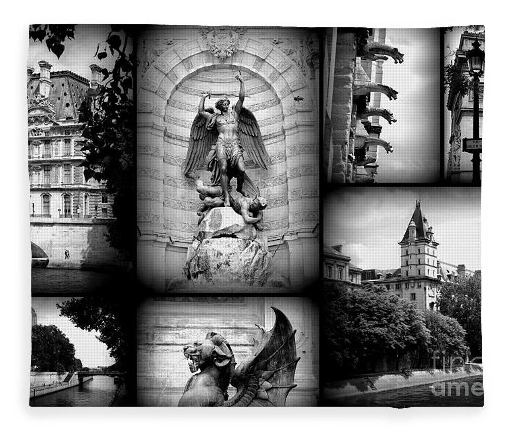 Paris Fleece Blanket Featuring The Photograph Collage