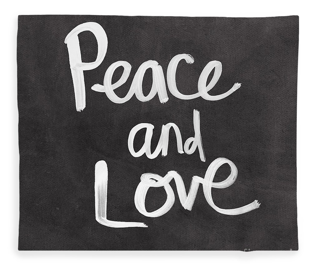 Love Fleece Blanket featuring the mixed media Peace and Love by Linda Woods