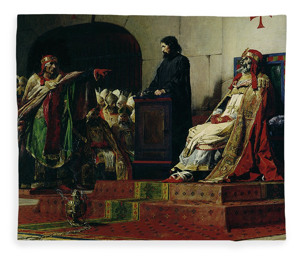 Pope Formosus Fleece Blanket featuring the painting Pope Formosus And Pope Stephen Vi by Jean Paul Laurens